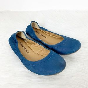 Lucky Brand Emmie Ballet Flats Blue Suede …